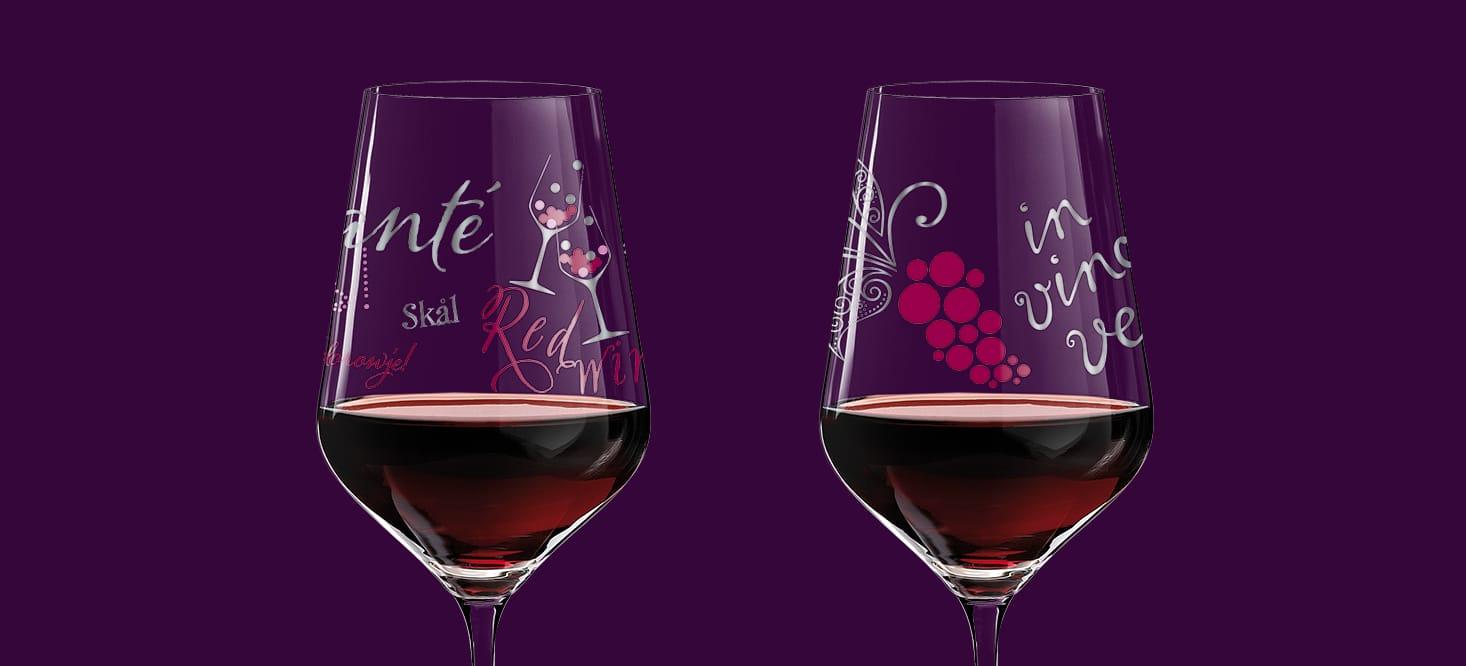 Red + White: Rot-, Weißweinglas + Weinkaraffe