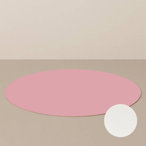 Platzset L, rund, in Weiß/Rosa