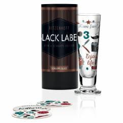 Black Label Schnapsglas von Kathrin Stockebrand