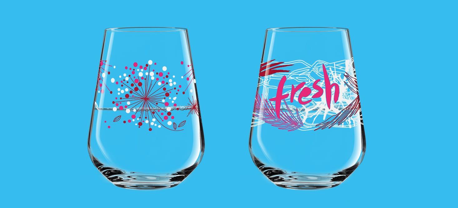 Aqua e Vino: Wasser- + Weinglas