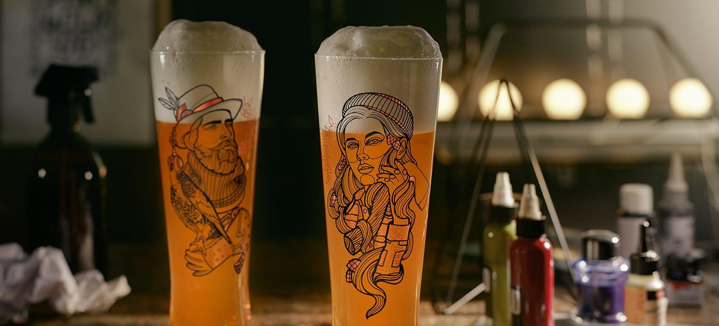 Black Label: Bier-, Schnaps- + Weizenbierglas