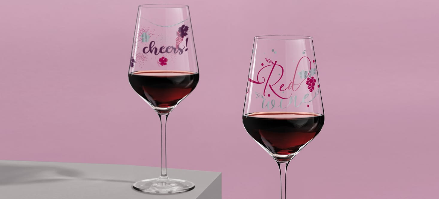 Herzkristall: Rot- + Weißweinglas