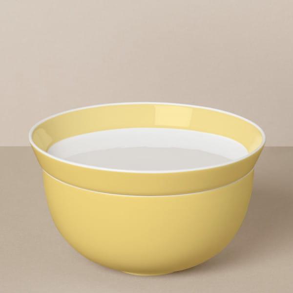 Großes Schalen-Teller-Set in Weiß/Gelb