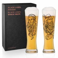 Black Label Weizenbierglas-Set von Vladimir Bott (Falconer & Lumberjack)