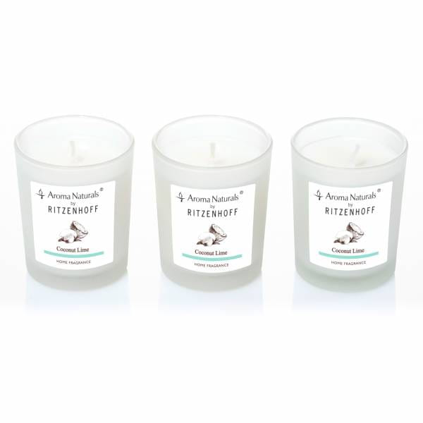 Nature Duftkerze 3er-Set, Coconut Lime