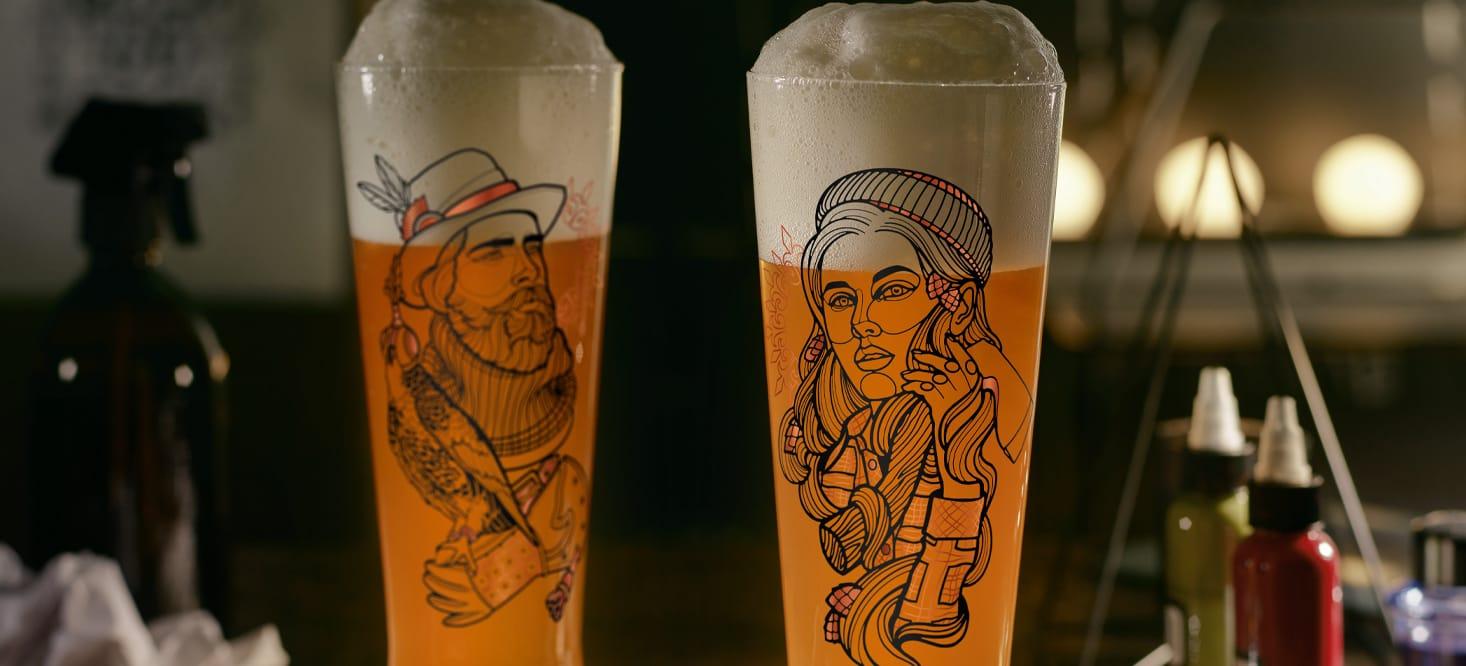 Heldenfest: Bier-, Schnapsglas + Weizenbierglas-Set